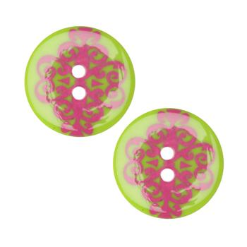 Fashion Button 1''  Damask Lime/Pink