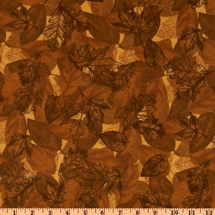 Timeless Treasures Cabin Fever Flannel Leaves Brown