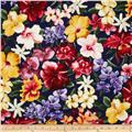 Island Garden Tropical Flowers Navy