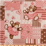 EW-857 Belinda Bear Quilt Patch Brown/Pink