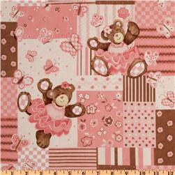 Belinda Bear Quilt Patch Brown/Pink