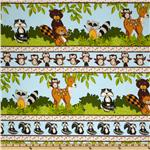 Forest Friends Flannel Border Stripes Multi