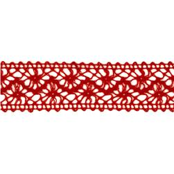 "1 1/2"" Crochet Lace Ribbon Red"
