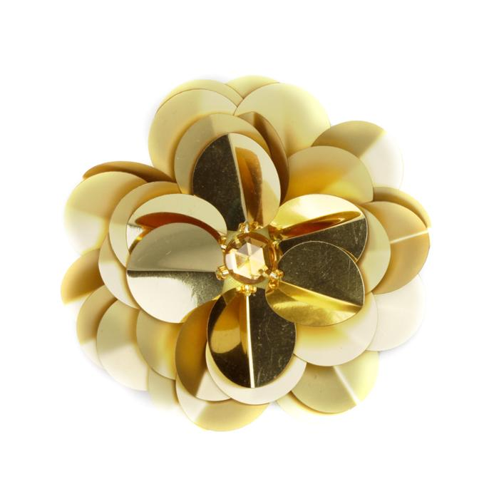 Vinyl Triple Layer Sequin Flower Applique Gold