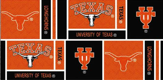 Collegiate Cotton Broadcloth University of Texas Squares Black/Orange