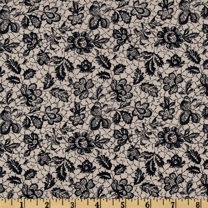 April In Paris Lace Floral Charcoal