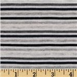 Designer Rayon Jersey Knit Stripes Black/Grey/White