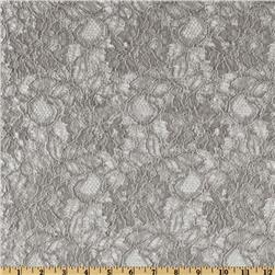 Capri Floral Lace Fabric Pewter