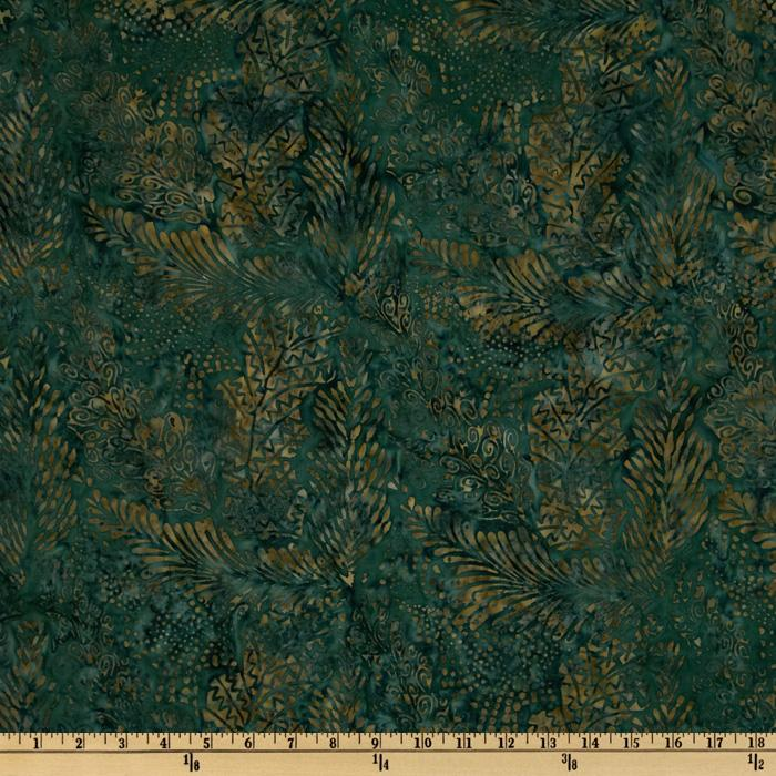 108&#39;&#39; Wide Tonga Batik Quilt Backing Leaves Pine