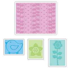 Sizzix Textured Impressions Embossing Folders 4 Pack-Spring Set
