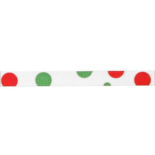 3/8&#39;&#39; Grosgrain Bubble Dot Ribbon Red/Green