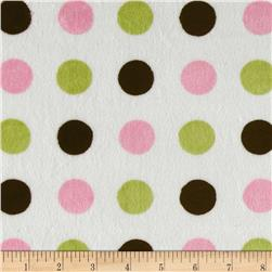 Minky 3 Way Renaissance Dots Pink/Lime/Brown