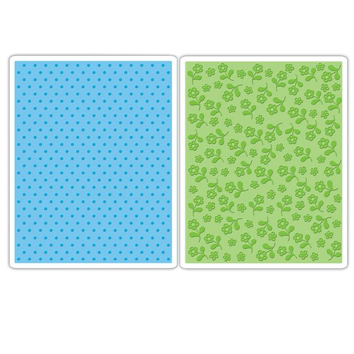 Sizzix Textured Impressions Embossing Folders 2 Pack - Dots &amp; Flowers