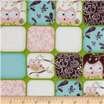 211082 Whoo's Cute Flannel Squares Green