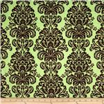 Minky Cuddle Damask Sage/Brown