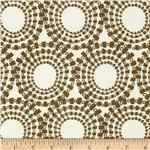 0269449 Stretch ITY Jersey Knit Tiled Circles Mocha/Cream