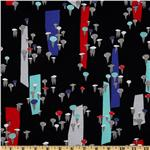 City Scenes Laminated Cotton Holding Umbrellas Black