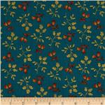 0285484 Prairie Home and Companions Pin Stripe Floral Turquoise