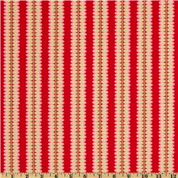 Michael Miller Christmas Large Leafy Stripe Santa Red
