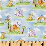 Gingham Safari Animals Blue