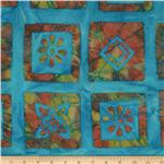 Indian Batik Blocks Orange/Yellow/Turquoise