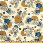 FO-652 Essex Linen Blend La Femme Floral Blue/Tan