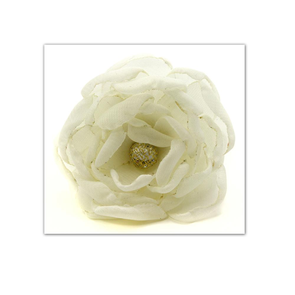 Laliberi Pin &amp; Clip Flower Multi Layer Curled Rose Cream