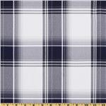 Yarn Dyed Polyester Suiting Plaid White/Navy/Black