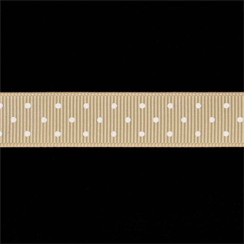 Riley Blake 5/8'' Grosgrain Ribbon Mini Dot Cream