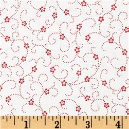 Lazy Daisy Baskets Stippled Hearts Red