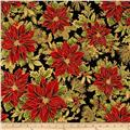 Holiday Flourish 6 Poinsettia Metallic Black