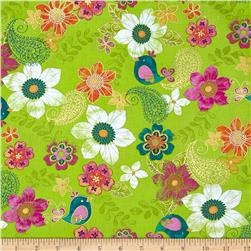 Birds and Blooms Metallic Paisley Floral Green