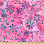 0269824 Indian Batik Floral Butterflies Pink