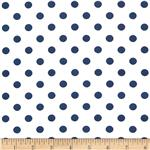 0296978 Stretch ITY Jersey Knit Small Dots White/Navy