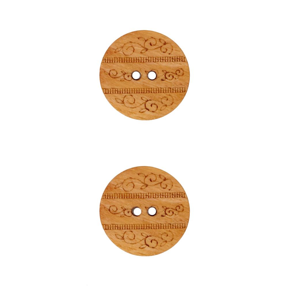 Dill Wooden Button 7/8'' Etched Circle