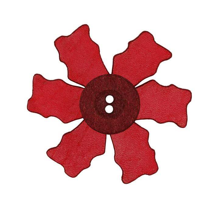 2.25'' Leather Button Flower Red