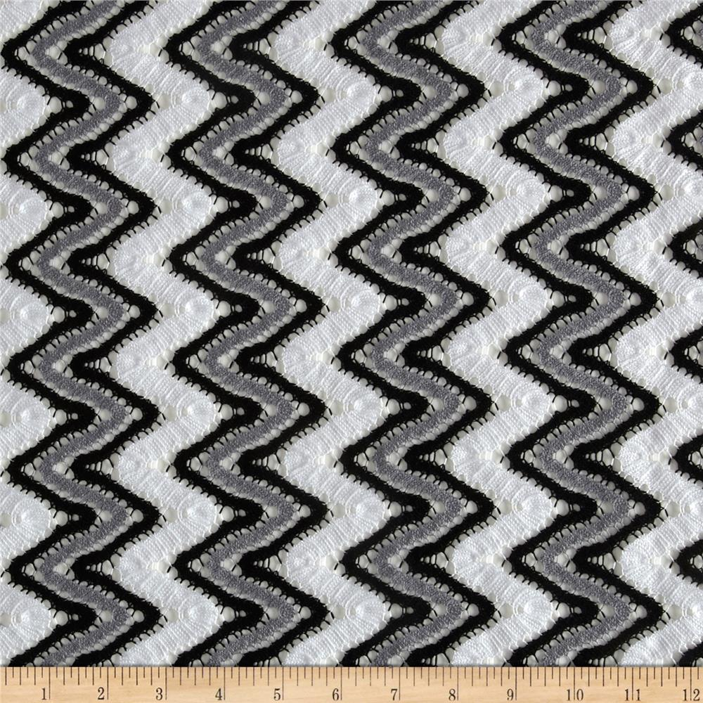Cayman Crochet Chevron Lace Fabric Black/White