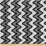 0267323 Cayman Crochet Chevron Lace Fabric Black/White