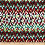 0267457 Bloom Stretch Cotton Sateen Watercolor Ikat Red/Green
