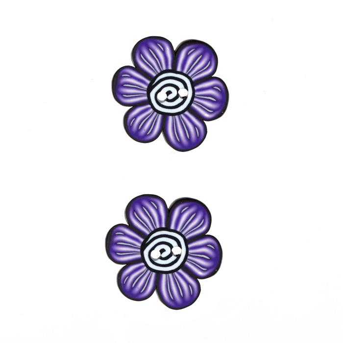 Lisa Pavelka Novelty Clay Button 1'' Flower Purple