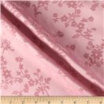 Stretch Flocked Sateen Floral Pink
