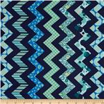 0285390 Chevron Chic Patterned Chevron Navy/Aqua