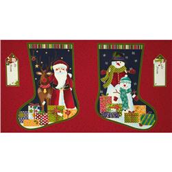 Christmas Metallic Stocking Panel Blue