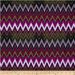 Juliette Jersey Knit Chevron Magenta/Green