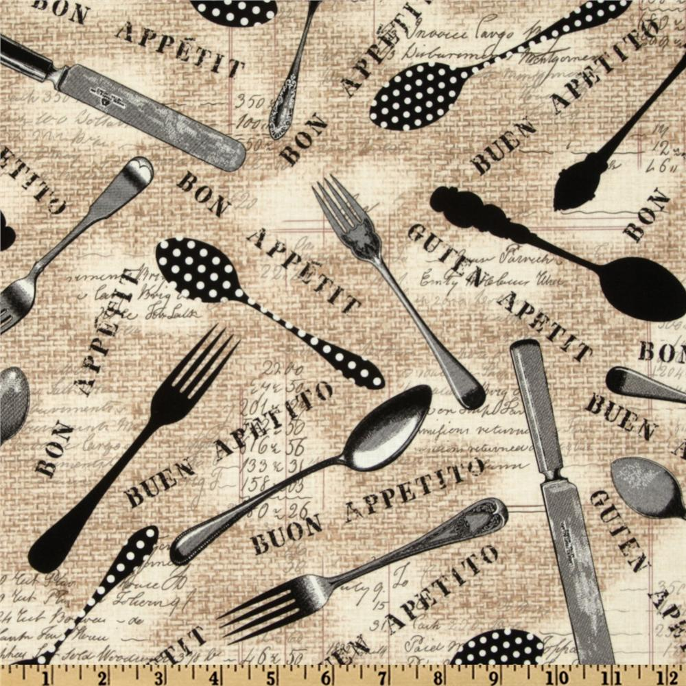 Michael Miller Bon Appetit Flying Utensils Flax