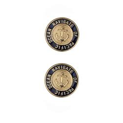 "Dill Buttons 1 1/8"" Full Metal Enamelled Button Gold"