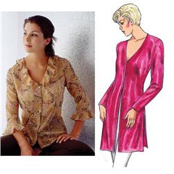 Kwik Sew Misses V neck Button Front Blouses Pattern