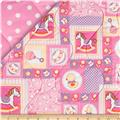 Baby Talk Double Sided Quilted Rocking Horses & Ducks Pink