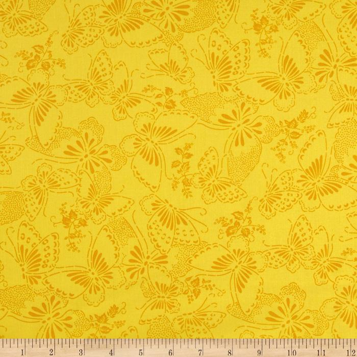 110&quot; Wide Quilt Backing Butterfly Yellow