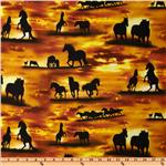 Sunrise Sunset Horse Silhouettes Gold